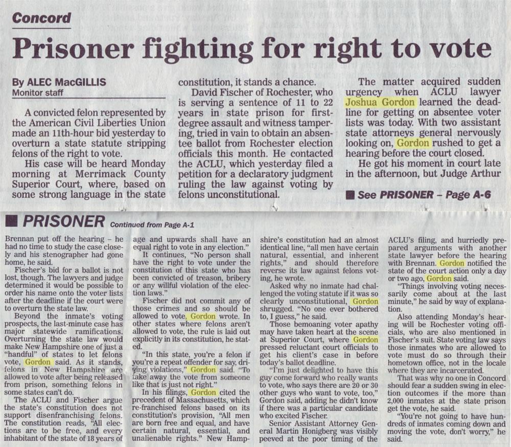 Prisoner fighting for right to vote