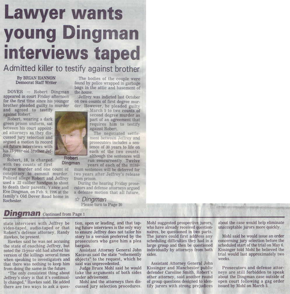 Lawyer wants young Dingman interviews taped