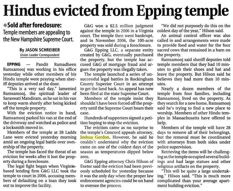 Hindus evicted from Epping Temple