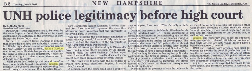UNH Police legitimacy before high court