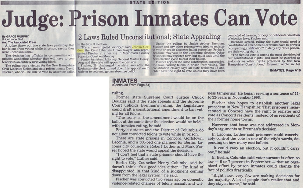 Concord Inmate Cites Constituion In Seeking Vote